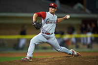 Williamsport Crosscutters pitcher Andrew Godail (9) delivers a pitch during a game against the Batavia Muckdogs on August 27, 2015 at Dwyer Stadium in Batavia, New York.  Batavia defeated Williamsport 3-2.  (Mike Janes/Four Seam Images)