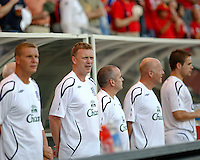 Everton FC manager David Moyes and his coaching staff during the national anthem.  The Chicago Fire defeated English Premier League Team Everton FC 2-0 in a friendly match at Toyota Park in Bridgeview, IL, on July 30, 2008.