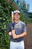 Dylan Carlson (6) of Elk Grove High School in Elk Grove, California poses for a photo before the Under Armour All-American Game on August 15, 2015 at Wrigley Field in Chicago, Illinois. (Mike Janes/Four Seam Images)