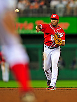 6 June 2009: Washington Nationals' second baseman Anderson Hernandez makes a play to first against the New York Mets at Nationals Park in Washington, DC. The Nationals defeated the Mets 7-1, with pitcher John Lannan going the distance for his first career complete-game. Mandatory Credit: Ed Wolfstein Photo