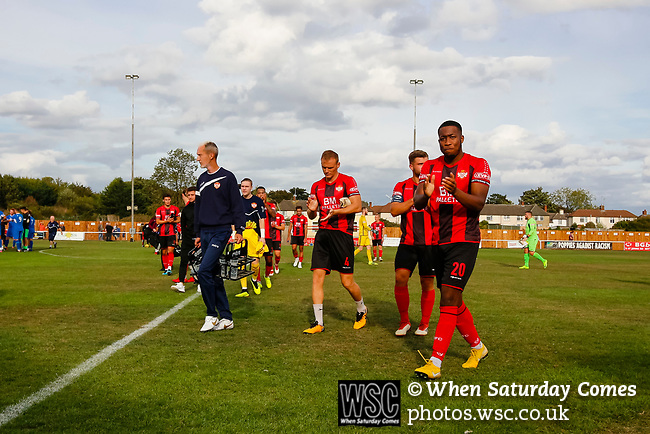 Disappointed Kettering players leave the pitch at full time. Kettering Town 1 Leiston 2, Evo Stick Southern League Premier Central, Latimer Park. Kettering Town are a famous name in non-league football. After financial problems, relegations, and relocation, the club are once again upwardly mobile. Despite losing to Leiston, Kettering finished the season as Champions and were promoted to the National League North.