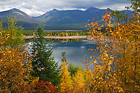 Hungry Horse Reservoir framed in autumn colors.