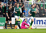 St Johnstone v Hibs…12.08.18…  McDiarmid Park    SPFL<br />Olly Shaw scores Hins equaliser<br />Picture by Graeme Hart. <br />Copyright Perthshire Picture Agency<br />Tel: 01738 623350  Mobile: 07990 594431