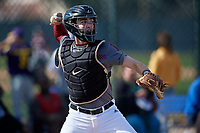 Joshua Randall during the Under Armour All-America Pre-Season Tournament, powered by Baseball Factory, on January 19, 2019 at Fitch Park in Mesa, Arizona.  Joshua Randall is a catcher / right handed pitcher from San Juan Capistrano, California who attends Capistrano Valley Christian High School.  (Mike Janes/Four Seam Images)