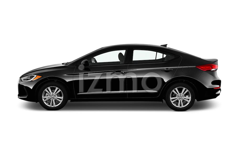 Car Driver side profile view of a 2017 Hyundai Elantra SE 4 Door Sedan Side View