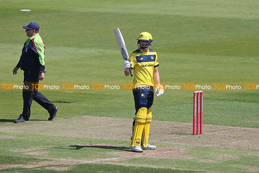 James Vince of Hampshire raises his bat to celebrate reaching his fifty during Hampshire Hawks vs Essex Eagles, Vitality Blast T20 Cricket at The Ageas Bowl on 16th July 2021
