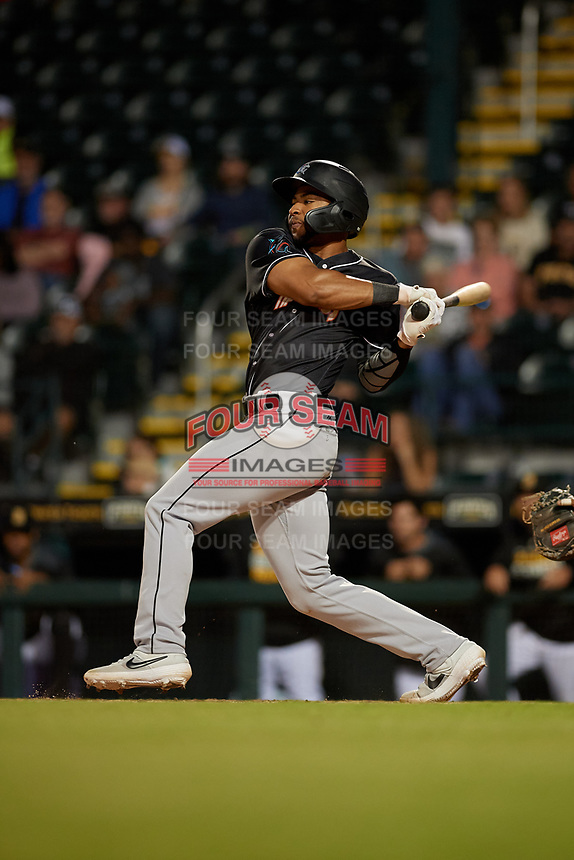 Jupiter Hammerheads James Nelson (20) bats during a Florida State League game against the Bradenton Marauders on April 20, 2019 at LECOM Park in Bradenton, Florida.  Bradenton defeated Jupiter 3-2.  (Mike Janes/Four Seam Images)