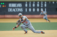 Miami Hurricanes third baseman Raymond Gil (16) on defense against the Wake Forest Demon Deacons at David F. Couch Ballpark on May 11, 2019 in  Winston-Salem, North Carolina. The Hurricanes defeated the Demon Deacons 8-4. (Brian Westerholt/Four Seam Images)