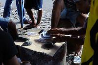 Fischer beim Kartenspiel, Mindelo, Sao Vicente, Kapverden, Afrika