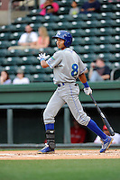 Designated hitter Wander Franco (8) of the Lexington Legends bats in a game against the Greenville Drive on Tuesday, April 14, 2015, at Fluor Field at the West End in Greenville, South Carolina. Lexington won, 5-3. (Tom Priddy/Four Seam Images)