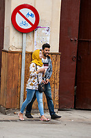 Fes, Morocco.  Young Moroccan Couple.