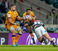 21st May 2021; Twickenham, London, England; European Rugby Challenge Cup Final, Leicester Tigers versus Montpellier; Anthony Bouthier of Montpellier Rugby is tackled by Ellis Genge of Leicester Tigers