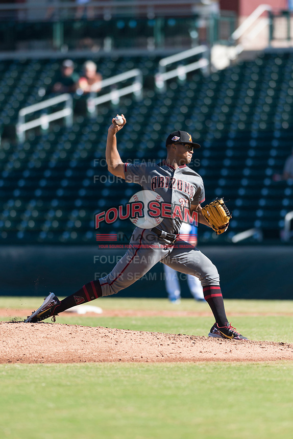 Salt River Rafters starting pitcher Jon Duplantier (31), of the Arizona Diamondbacks organization, delivers a pitch during an Arizona Fall League game against the Mesa Solar Sox at Sloan Park on October 30, 2018 in Mesa, Arizona. Salt River defeated Mesa 14-4 . (Zachary Lucy/Four Seam Images)