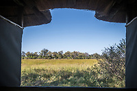 Africa, Botswana, Okavango Delta, Khwai private reserve. View from the toilet tent at Khwai Private Reserve.