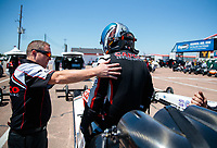 Apr 14, 2019; Baytown, TX, USA; Crew members with NHRA top fuel driver Steve Torrence during the Springnationals at Houston Raceway Park. Mandatory Credit: Mark J. Rebilas-USA TODAY Sports