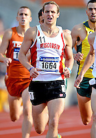 May 25, 2013: Austin Mudd of Wisconsin #1664 dashes towards the finish line in 1500 meter quarterfinal event during NCAA Outdoor Track & Field Championships West Preliminary at Mike A. Myers Stadium in Austin, TX.