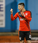 Michael O'Halloran applauds and gives a thumbs-up to the Rangers support at full-time