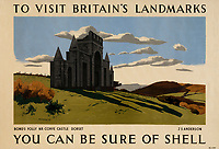 BNPS.co.uk (01202 558833)<br /> Pic: Lyon&Turnbull/BNPS<br /> <br /> Pictured: A poster featuring the Dorset Countryside near Corfe Castle<br /> <br /> A vast collection of vintage Shell posters have sold at auction for almost £60,000.<br /> <br /> The group of 49 sheets were sold directly from the oil giant's archives and featured some incredibly rare designs from down the years.<br /> <br /> All of the posters had previously been used in Shell advertising campaigns, dating back to between the 1920s and 1950s.<br /> <br /> Many of the colourful designed featured the slogan 'You can be sure of Shell' and list people who preferred their fuel.