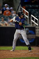 Vermont Lake Monsters Jose Rivas (18) at bat during a NY-Penn League game against the Aberdeen IronBirds on August 19, 2019 at Leidos Field at Ripken Stadium in Aberdeen, Maryland.  Aberdeen defeated Vermont 6-2.  (Mike Janes/Four Seam Images)