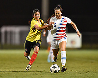 Lakewood Ranch, FL - Wednesday, October 10, 2018:   Laura Marcelo, Sunshine Fontes during a U-17 USWNT match against Colombia.  The U-17 USWNT defeated Colombia 4-1.