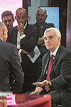 © Joel Goodman - 07973 332324 . 26/09/2016 . Liverpool , UK . CHUKA UMUNNA (3rd from left) watches as JOHN MCDONNELL (r) is interviewed by EVAN DAVIS (l) on Newsnight during the Labour Party Conference at the ACC Conference Centre . Photo credit : Joel Goodman