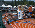Danielle Rynning during the Concours d'Elegance Wood Boat Show at Lake Tahoe on Friday, August 10, 2018.