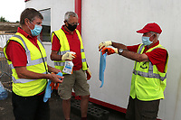 The hand towels used for wiping the footballs are sanitised ahead of kick-off during Ramsgate vs Folkestone Invicta, Friendly Match Football at Southwood Stadium on 1st August 2020