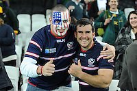 07 October 2015: A USA fan with Niku Kruger of USA after Match 31 of the Rugby World Cup 2015 between South Africa and USA - Queen Elizabeth Olympic Park, London, England (Photo by Rob Munro/CSM)