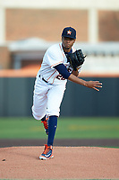 Buies Creek Astros starting pitcher Jorge Alcala (28) follows through on his delivery against the Frederick Keys at Jim Perry Stadium on April 28, 2018 in Buies Creek, North Carolina. The Astros defeated the Keys 9-4.  (Brian Westerholt/Four Seam Images)