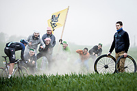Gianni Moscon (ITA/Team Sky) cheered on by the fans.<br /> <br /> <br /> 117th Paris-Roubaix (1.UWT)<br /> 1 Day Race: Compiègne-Roubaix (257km)<br /> <br /> ©kramon