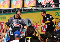 Feb 8, 2015; Pomona, CA, USA; NHRA pro stock driver Greg Anderson during the Winternationals at Auto Club Raceway at Pomona. Mandatory Credit: Mark J. Rebilas-