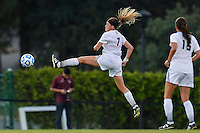 Texas State midfielder Ali Myers (7) attempts to intercept the ball during first half of an NCAA soccer game, Sunday, September 21, 2014 in San Marcos, Tex. Texas defeated Texas State 2-0. (Mo Khursheed/TFV Media via AP Images)