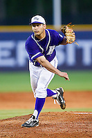 High Point Panthers starting pitcher Matt Armstead #4 follows through on his delivery against the VMI Keydets at Willard Stadium on March 31, 2012 in High Point, North Carolina.  The Panthers defeated the Keydets 2-0.  (Brian Westerholt/Four Seam Images)