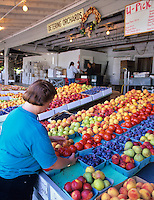 People shopping for fruit at Deterings Orchard. Oregon.