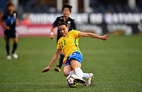 Seattle, WA - Thursday July 27, 2017: Jucinara during a 2017 Tournament of Nations match between the women's national teams of the Japan (JAP) and Brazil (BRA) at CenturyLink Field.