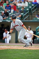 Pawtucket Red Sox second baseman Jeff Bianchi (16) hits a triple to right field during a game against the Rochester Red Wings on July 1, 2015 at Frontier Field in Rochester, New York.  Rochester defeated Pawtucket 8-4.  (Mike Janes/Four Seam Images)