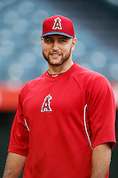 Chris Iannetta #17 of the Los Angeles Angels before a game against the St. Louis Cardinals at Angel Stadium on July 3, 2013 in Anaheim, California. (Larry Goren/Four Seam Images)