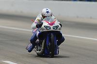 May 1, 2011; Baytown, TX, USA: NHRA pro stock motorcycle rider Hector Arana Jr during the Spring Nationals at Royal Purple Raceway. Mandatory Credit: Mark J. Rebilas-