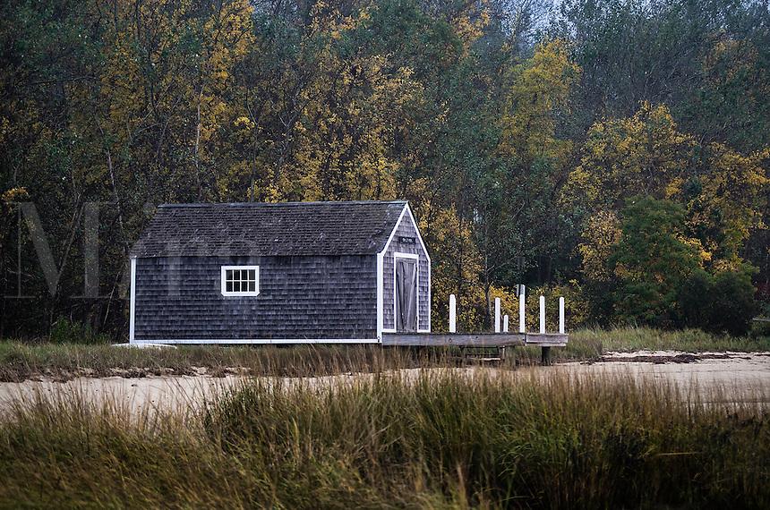 Waterfront boathouse, Pleasant Bay, Chatham, Cape Cod, Massachusetts, USA