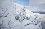Appalachian Trail - Scenic views along the Carter-Moriah Trail in winter conditions near Carter Dome in the White Mountains, New Hampshire USA
