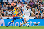 Daniel Carvajal Ramos (r) of Real Madrid fights for the ball with Nacho Gil of Valencia CF during their La Liga 2017-18 match between Real Madrid and Valencia CF at the Estadio Santiago Bernabeu on 27 August 2017 in Madrid, Spain. Photo by Diego Gonzalez / Power Sport Images