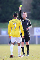 Sanchez Ming of Bromley receives a yellow card from referee John Hopkins - AFC Hornchurch vs Bromley - Blue Square Conference South Football at The Stadium, Upminster Bridge, Essex - 01/04/13 - MANDATORY CREDIT: Gavin Ellis/TGSPHOTO - Self billing applies where appropriate - 0845 094 6026 - contact@tgsphoto.co.uk - NO UNPAID USE.
