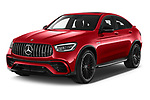 2021 Mercedes Benz GLC-Coupe AMG-GLC-63-S 5 Door SUV Angular Front automotive stock photos of front three quarter view
