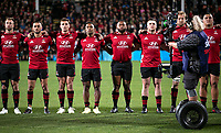 The Crusaders line up before the 2021 Super Rugby Aotearoa final between the Crusaders and Chiefs at Orangetheory Stadium in Christchurch, New Zealand on Saturday, 8 May 2021. Photo: Joe Johnson / lintottphoto.co.nz