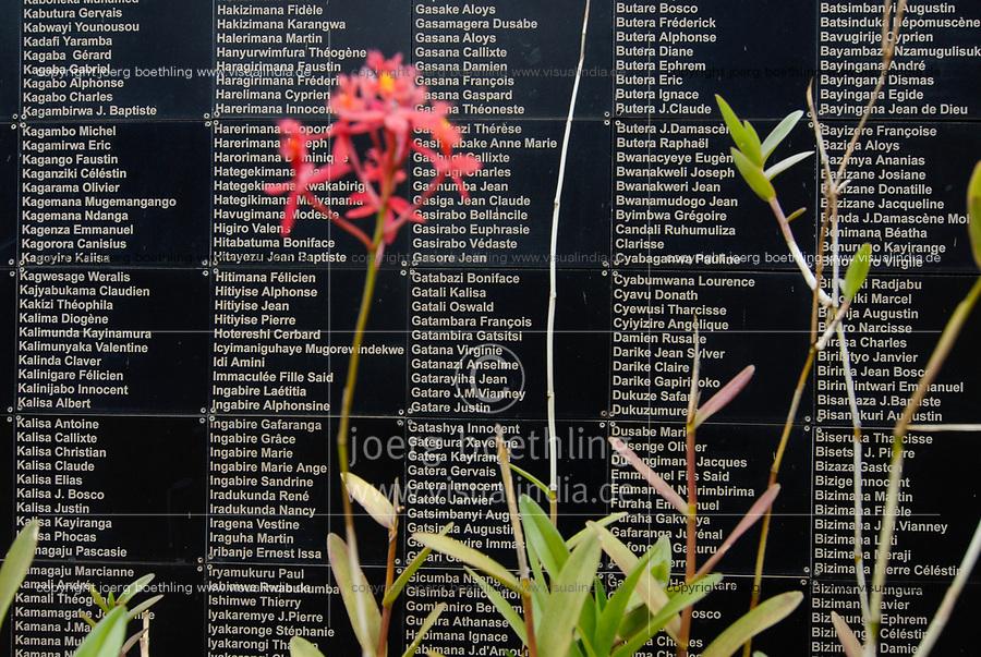 RWANDA Kigali, Genocide memorial, during the genocide in april 1994 nearly one Million Tutsi were killed by Hutu murder, mass grave, name plates of the victims   / RUANDA Kigali , Genozid Gedenkstaette, Ausstellung und Mahnmal fuer die Opfer des Genozid  , waehrend des Voelkermord wurden ca. eine Million Tutsi im April 1994 von Hutu Milizen ermordet, Massengrab, Namentafel der Ermordeten