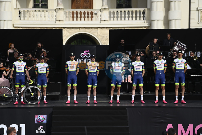 Intermarché-Wanty-Gobert Matériaux on stage at team presentation of the 2021 Giro d'Italia inside the Cortile d'Onore of the Castello del Valentino, on the occasion of the 160th anniversary of the Unification of Italy, Turin, Italy. 6th May 2021.  <br /> Picture: LaPresse/Fabio Ferrari | Cyclefile<br /> <br /> All photos usage must carry mandatory copyright credit (© Cyclefile | LaPresse/Fabio Ferrari)