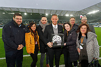 Lee Trundle with match ball sponsors during the Sky Bet Championship match between Swansea City and Sheffield Wednesday at the Liberty Stadium , Swansea, Wales, UK. Saturday 15 December 2018