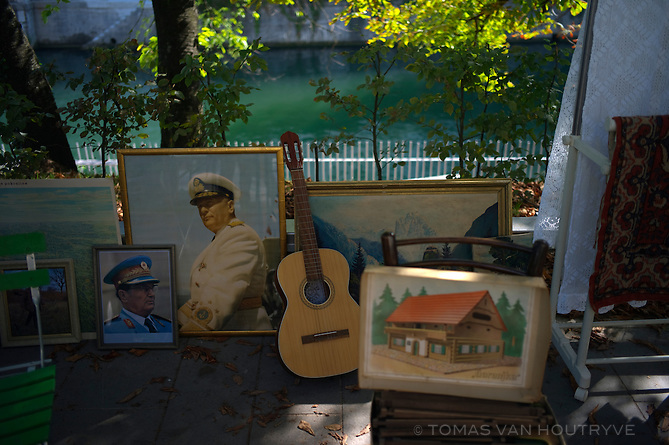 Pictures of former Yugoslav dictator, Josip Broz Tito, are seen at an antique market in Ljubljana, Slovenia on Oct. 25, 2011.