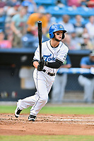 Asheville Tourists center fielder Matt Hearn (1) swings at a pitch during a game against the Columbia Fireflies at McCormick Field on August 3, 2018 in Asheville, North Carolina. The Fireflies defeated the Tourists 6-3. (Tony Farlow/Four Seam Images)