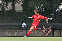 NEWTON, MA - AUGUST 29: Kaitlyn Mahoney #1 of University of Connecticut punts the ball during a game between University of Connecticut and Boston College at Newton Campus Soccer Field on August 29, 2021 in Newton, Massachusetts.